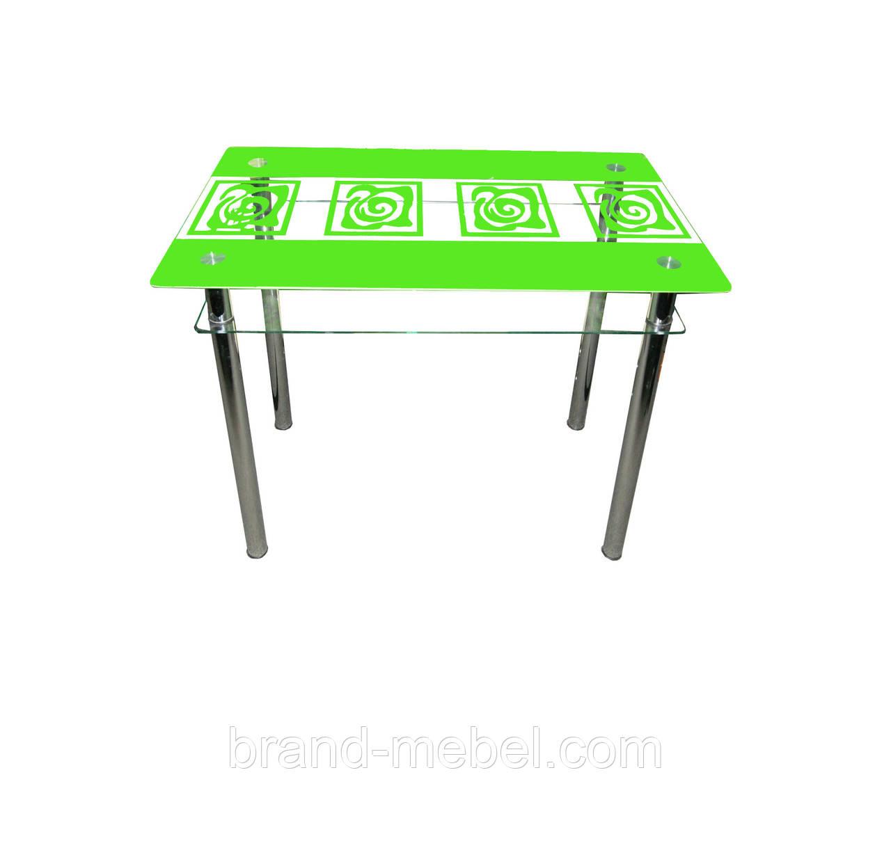 Стол стеклянный Улитки зеленые