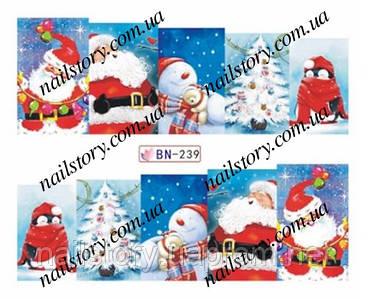 Новогодние наклейки для ногтей BN239