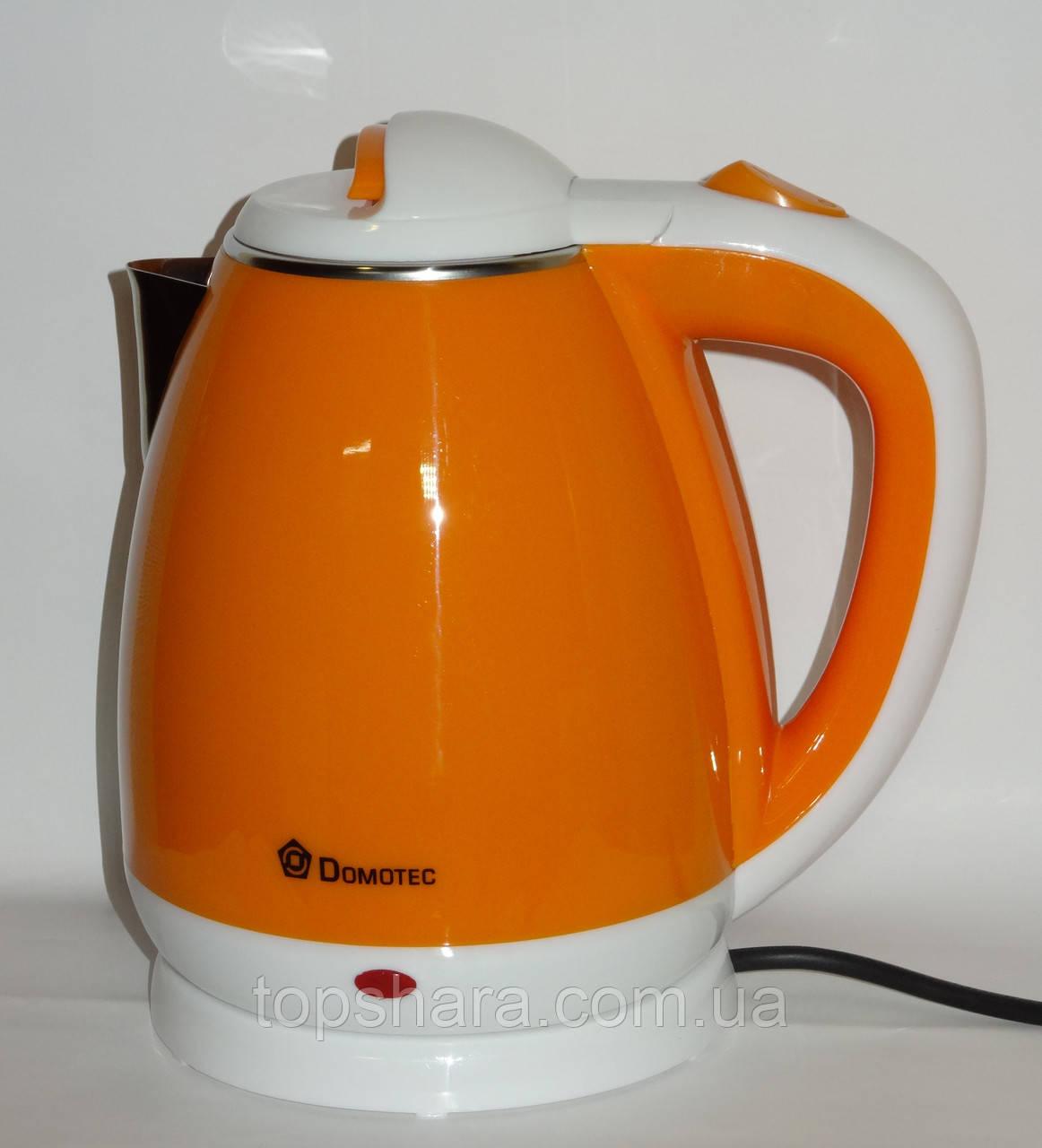 Электрочайник нержавейка-пластик Domotec DT-901 1.8л оранжевый