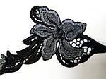 Кружево черное цветок пришивной элемент со стразами, фото 4