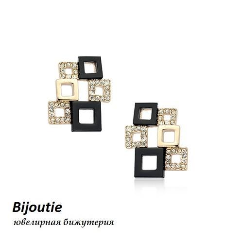 Сережки МЕЙД ювелірна біжутерія золото 18к декор кристали Swarovski