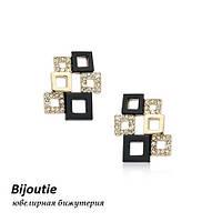 Серьги МЭЙД ювелирная бижутерия золото 18к декор кристаллы Swarovski
