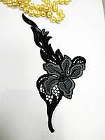 Кружево черное цветок пришивной элемент со стразами