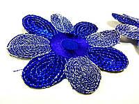 Цветок синий пришивной элемент с пайетками и вышивкой шелком по атласу.