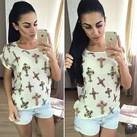 Женская летняя футболка с крестами