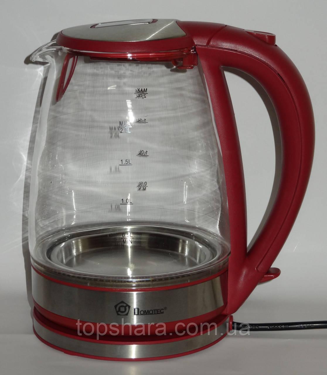 Электрочайник стекло Domotec MS-8113 2.0л Красный
