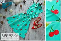 Женское летнее льняное платье с вишенками