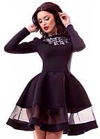 Элегантное платье с вышивкой на груди,пышной юбкой,цвет черный
