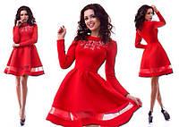 Элегантное платье с вышивкой на груди,пышной юбкой,цвет красный