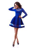 Элегантное платье с вышивкой на груди,пышной юбкой,цвет электрик
