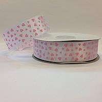 Лента атласная в розовых сердечках 2,5 см