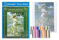 """Вышивка крестом """"Дама на берегу"""" (20*28 см.) цветной фон, тонкие нитки"""