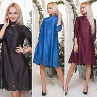 Модное женское платье с перфорацией / Украина / замша