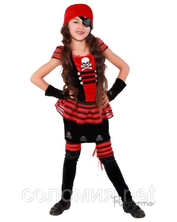 Детский костюм для девочки Пиратка красно-черная
