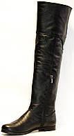 Сапоги женские демисезонные кожаные / замшевые на низкой подошве с низким широким каблучком ботфорт с молнией