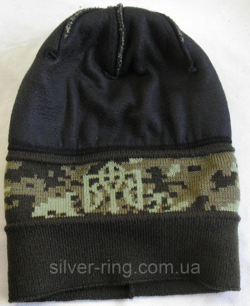 №1 -  Вязаная шапка пиксель с под воротом и гербом Украины флисом на всю голову