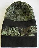 № 5 - Шапка вязаная писель с гербом Украины темно зеленый, фото 2