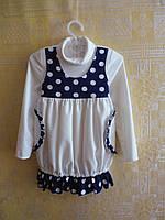 Платье трикотажное для девочки белое с синим горохом