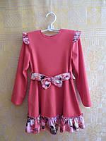 Платье трикотажное для девочки с поясом и оборкой