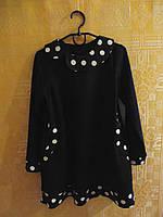 Платье для девочки трикотажное черное в горох