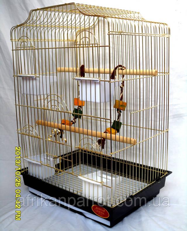Клітка для папуги на чотири годівниці, велика двері і високий піддон + решітка на піддоні.