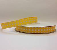 Лента репсовая Клетка желтая с белым