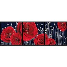 Картина за номерами Триптих Пурпурові троянди