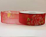 Лента из органзы 4 см красная с розами 46 м, фото 3