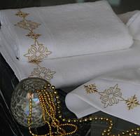 Полотенце д/лица белое Drahoma золото