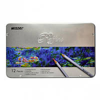Карандаши цветные 12 цветов MARCO 7100-12TN Raffine металлизированные, металлическая упаковка, фото 1