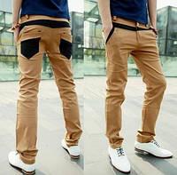 Джинсы чинос мужские брюки комбинированные