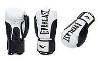 Перчатки боксерские кожаные EVERLAST BO-6161-BK черный-белый 12унц