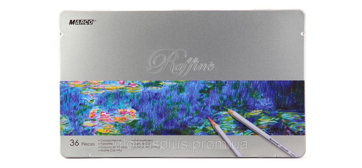 Карандаши цветные 36 цветов MARCO 7100-36TN Raffine металлизированные, металлическая упаковка, фото 1