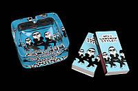 """Пепельница настольная стеклянная со спичками 10х4х9 см. """"Gangnam style"""" синяя"""