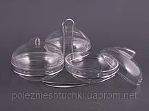 """Набор салатников пластиковых на подставке 3 шт., 12 см. """"Clear"""" прозрачный"""