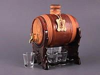 """Набор для водки 7 предметов с бочкой 1500/45 мл. """"Парусник"""" стеклянный с кожей, коричневый"""