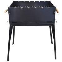 Мангал для шашлыков складной с решеткой (6-местный) в сумке, вороненая сталь