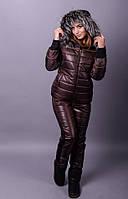 Лыжный костюм тройка Лакшери коричневый
