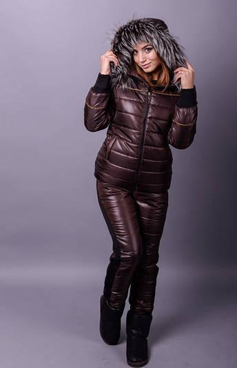Лыжный костюм тройка Лакшери коричневый (42-50)