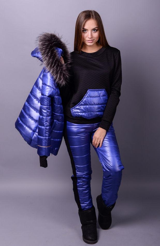 Лыжный костюм тройка Лакшери синий (42-50)