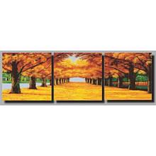 Триптих рисование по номерам Осенняя аллея