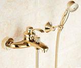 Смеситель кран золотой в ванную комнату с лейкой, фото 2