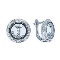 Серебряные серьги с подвижными кристаллами в стиле Chopard