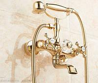 Смеситель кран с лейкой для ванной комнаты золото, фото 1
