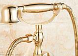Смеситель кран с лейкой для ванной комнаты золото, фото 2