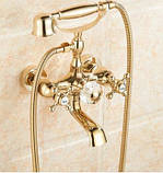 Смеситель кран с лейкой для ванной комнаты золото, фото 3