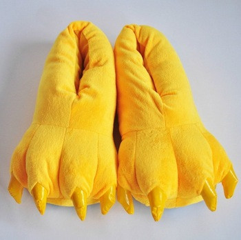 Желтые домашние теплые тапочки лапки кигуруми