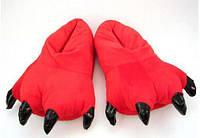 Красные домашние тапочки лапки для кигуруми