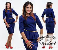 Платье Элегантное с баской синее Батал