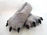 Серые тапочки лапки к пижаме кигуруми